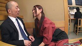 Flirty Japanese waitress Sakura Aoi arranges a foursome being done