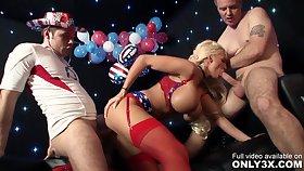 Gabriela Glazer and Rachel by Only3x featuring Boob Fuck, Older Man, Blonde, Facial Cumshot, Beamy Boobs - Gabriela glazer