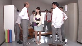 Hardcore gangbang not far from the locker room nearly Arisa Misato getting a facial