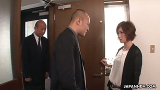 Seductive Asian hooker Kaede Oshiro serves several kinky dudes and gets DPed