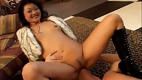 An impossibly nasty Asian nympho facesits her man before sucking his cock